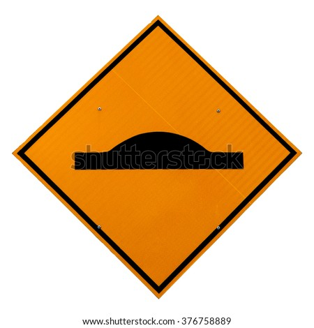 A yellow diamond shape speed ramp road sign, isolated against white.  - stock photo