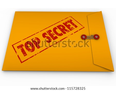 A yellow envelope with a red stamp with the words Top Secret conveying that the information inside is a secret, private, confidential, restricted message - stock photo