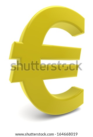 a yellow euro sign with reflection - stock photo