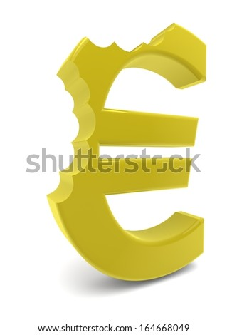 a yellow euro sign with two bites - stock photo