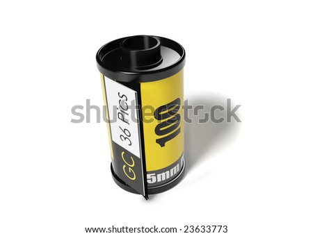 a yellow film roll with the white background