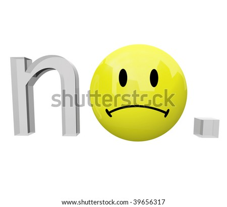A yellow frown face emoticon replaces the o in the word no - stock photo