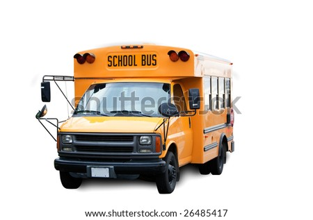 A yellow isolated school bus on white - stock photo