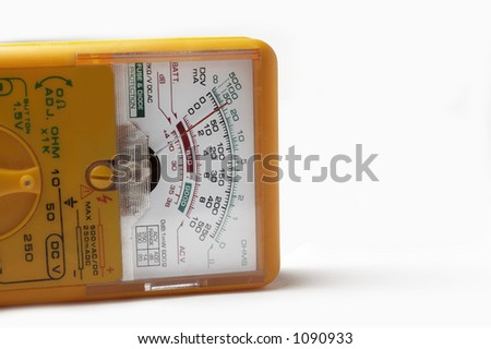 A yellow multimeter - stock photo