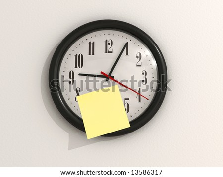 A yellow note on wall clock - 3d render