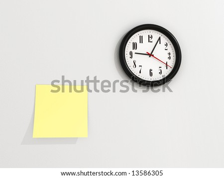 A yellow notes on wall near a clock - 3d render