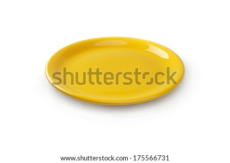 A yellow plate on the white background - stock photo