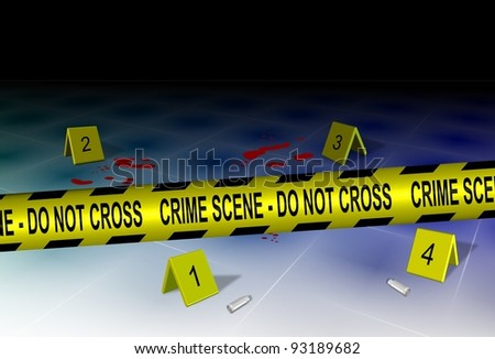 A yellow police tape spelling crime scene do not cross with some evidence on a floor / Crime scene and evidence - stock photo