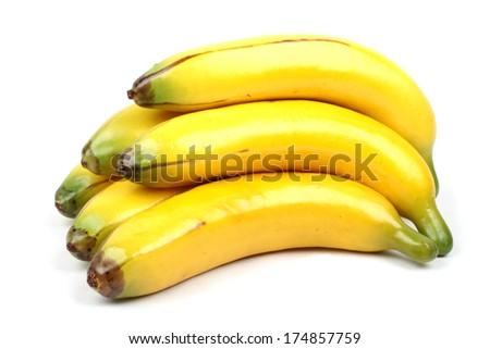 A yellow ripe banana on white - stock photo