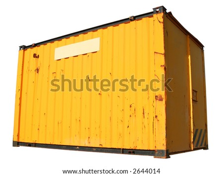 A yellow ship freight container, isolated on a white background. - stock photo