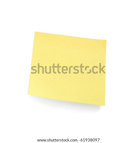 A yellow sticky note on a white background