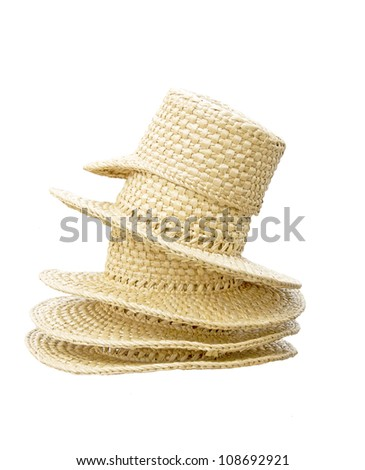 a yellow straw hat