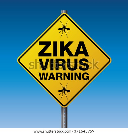 A yellow street warning sign for the Zika Virus.