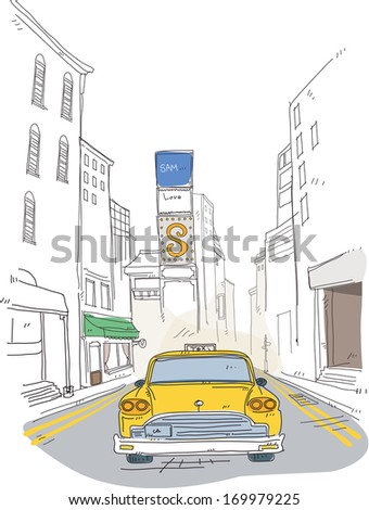 A yellow taxi driving down the road with signs behind it. - stock photo