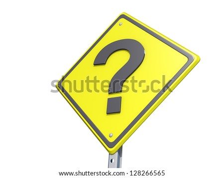 A yield road sign with a question mark  on a white background. - stock photo