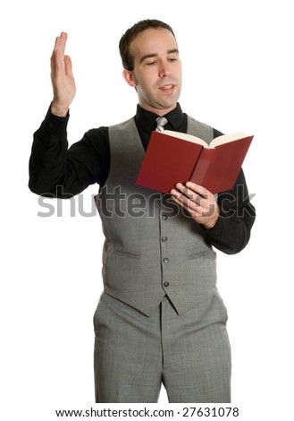 A young actor dressed in an older suit is reading his movie script, isolated against a white background - stock photo