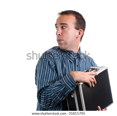 A young adult is trying to protect his case of private documents, isolated against a white background - stock photo