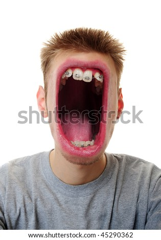 A young adult white Caucasian male screaming his message furiously isolated on white background. - stock photo