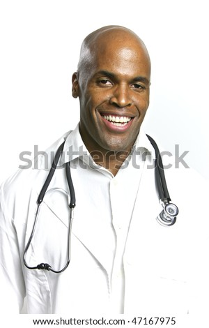 A Young African American Doctor With a Stethoscope - stock photo