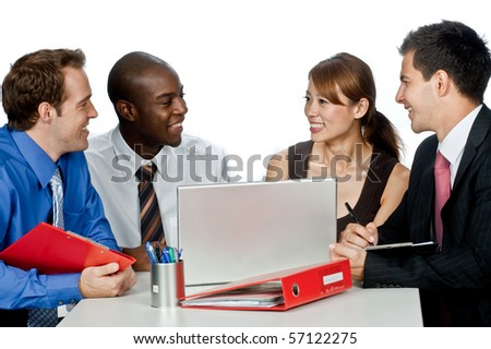A young and attractive group of professionals having a discussion in their office against white background