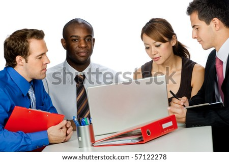 A young and attractive group of professionals having a discussion in their office against white background - stock photo