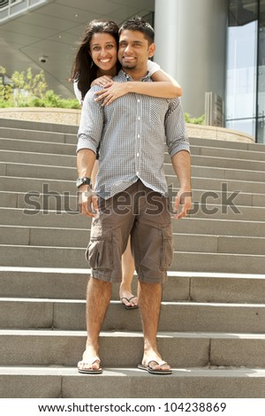 A young and happy couple on the river in Chicago downtown. - stock photo