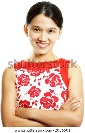 A young and pretty woman posing (isolated white)