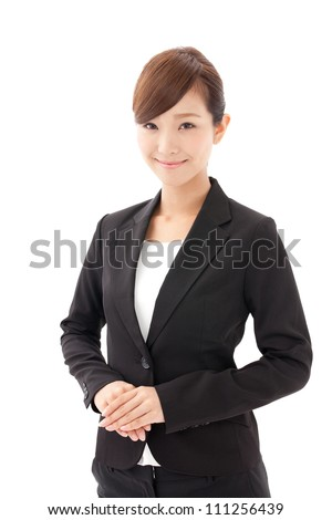 a young asian businesswoman on white background - stock photo