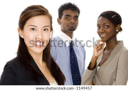A young asian businesswoman standing in front of her two colleagues