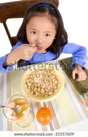 A young Asian Girl eating a healthy Breakfast