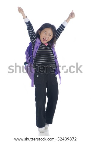 A young asian girl ready for school