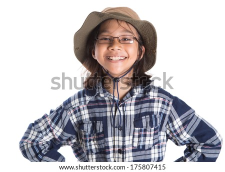 A young asian girl wearing a shirt and a hat over white background