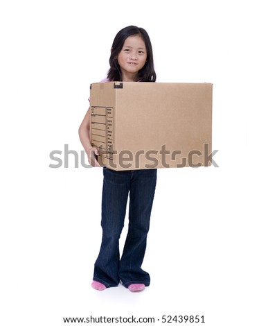 A young Asian girl with a moving box isolated on white background - stock photo