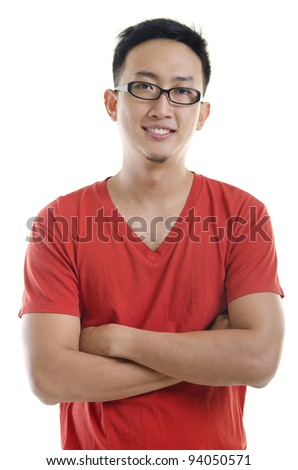 A young asian male adult on white background - stock photo