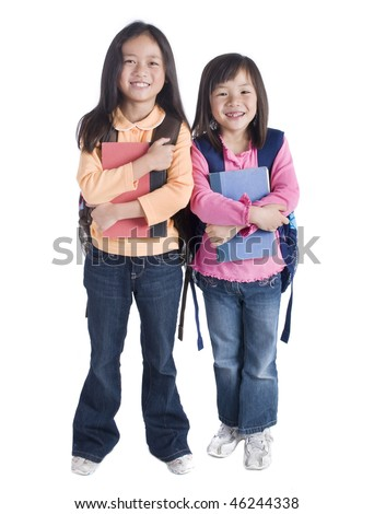 a young Asian school girls ready for school