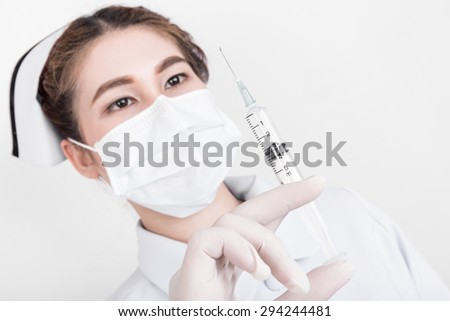A young attractive asian nurse, model is a asian female