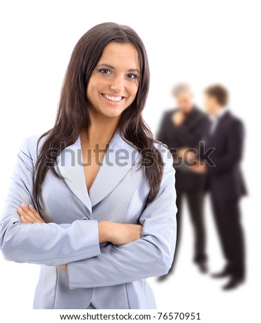 A young attractive business woman and her team - stock photo
