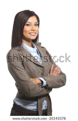 A young attractive business woman in the studio - stock photo