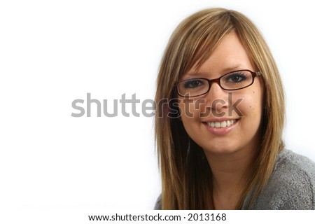 A young, attractive businesswoman ready to be your spokesperson. Great copyspace. - stock photo