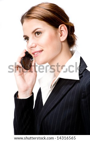 A young attractive businesswoman with cellphone on white background - stock photo