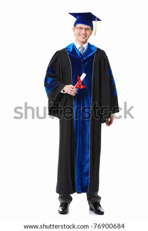 A young attractive student at the gown on a white background - stock photo