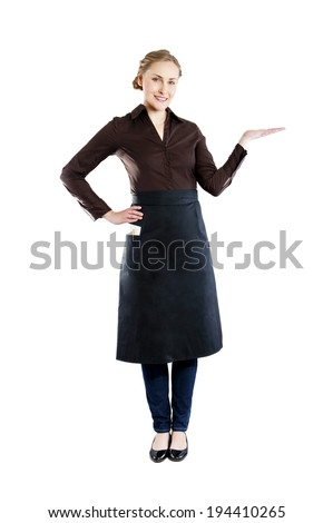 A young attractive waitress with a tray on a white background  - stock photo
