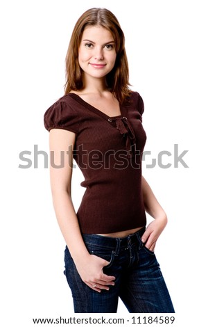 A young attractive woman in casual clothing on white background - stock photo