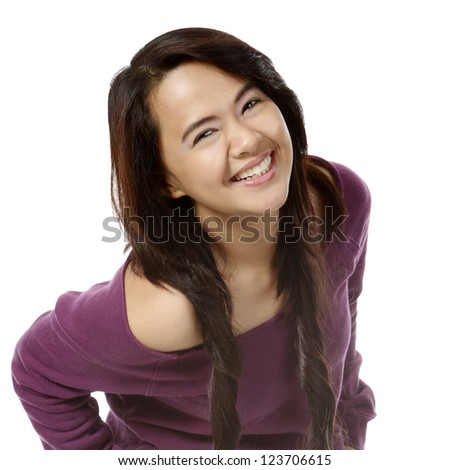 A young attractive woman with a big smile - stock photo