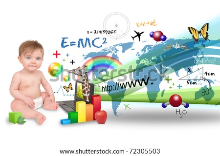 A young baby is on the computer learning about science, math and animals. There is a white background - stock photo