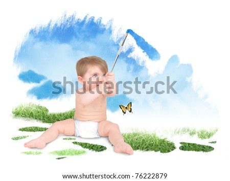 A young baby is painting a blue sky and green grass with a paint brush. The child is sitting on a white background.