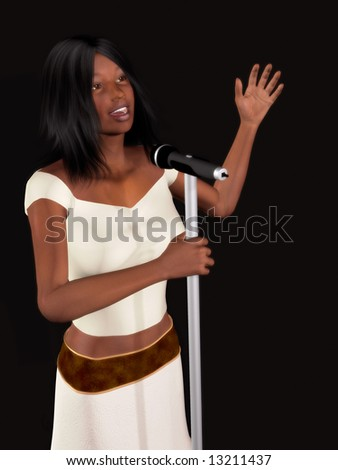 A young beautiful black woman singing with a microphone in her hand. - stock photo