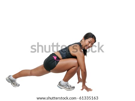 A young Beautiful Woman smiling while working out