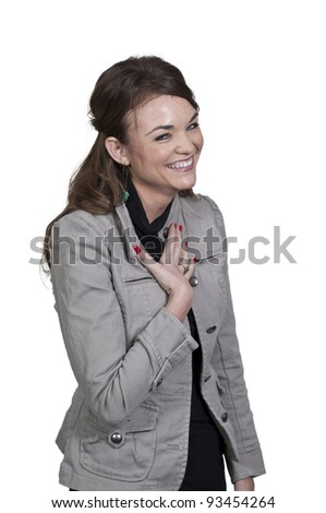 A young Beautiful Woman with a lovely smile laughing - stock photo