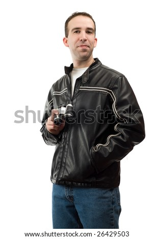 A young bird watcher posing for his portrait, isolated against a white background - stock photo